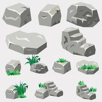 conjunto de rocas y piedras vector