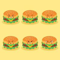 Cute Burger with Various Expression Set vector