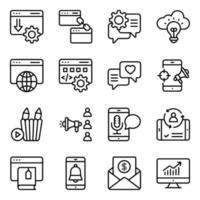 paquete de iconos lineales seo vector