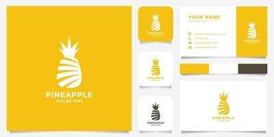 Simple and Minimalist Silhouette Pineapple with Business Card Template vector