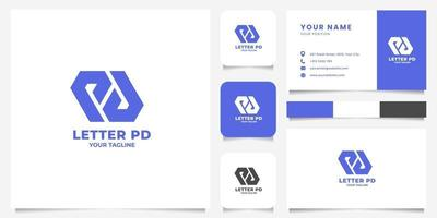 Simple and Minimalist Geometric Letter PD Logo with Business Card Template vector