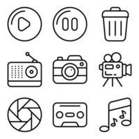 paquete de dispositivos e iconos lineales multimedia. vector