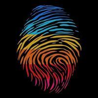 Ilustración de vector de huella digital de color retro