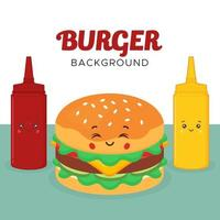 Great Background with Burger Sauces Characters Set vector