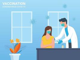 Flat design doctor injecting vaccine to a patient vector