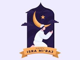 musulmanes rezando en el día de isra mi raj por la noche. vector