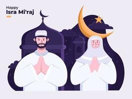 Isra Mi'raj greeting Islamic illustration. Al-Isra wal Mi'raj Prophet Muhammad. Muslim people celebrate isra and mi'raj day. Suitable for greeting card, postcard, flyer, poster, banner, website.