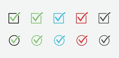 check mark icons. set of check marks. Green tick, yes or no, accept and decline symbol. Check mark OK icon for website and mobile app vector