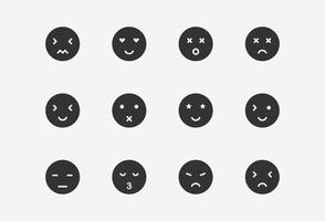 vector illustration of emoji icon set on grey background
