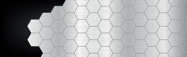 hexágonos de fondo abstracto de metal y fibra de carbono - ilustración vectorial