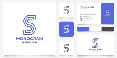 Simple and Minimalist Line Letter S Logo with Business Card Template vector