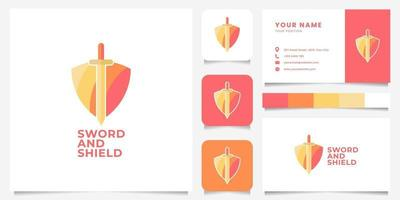 Colorful Shield and Sword Logo with Business Card Template vector