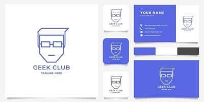 Simple and Minimalist Line Man with Glasses, with Business Card Template vector