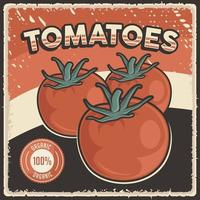 Retro Vintage Tomatoes Vegetable Poster vector