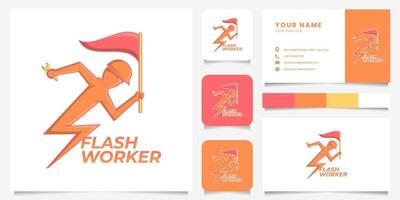 Flash Man Holding Flag and Wrench, and Wearing Helmet Logo with Business Card Template vector