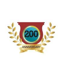 200 Year Anniversary Logo Vector Template Design Illustration