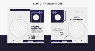 Food social media promotion and banner post design templates. vector