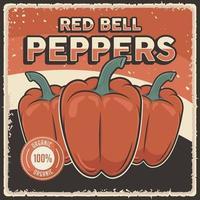 cartel de verduras de pimientos rojos vintage retro vector