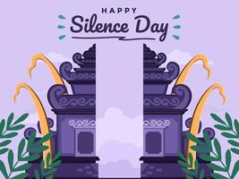 Day Of Silence And Hindu New Year Of Saka in bali, indonesia. Flat Illustration with traditional architecture. Can be used for greeting card, postcard, banner, poster, book cover, animation. vector