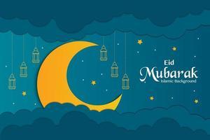 Eid Mubarak Papercut Style Vector