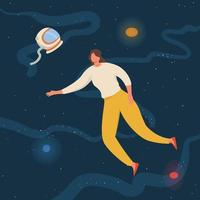 women floating in space with planets and stars. flying in sky with stars wearing casual clothes vector