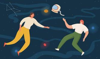 Two women floating in space with planets and stars. flying in sky with stars wearing casual clothes vector