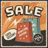 Retro Super Sale Discount Poster vector