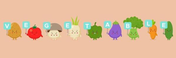 Cute Character Holding Vegetable Sign Set vector