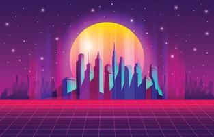 Nighttime at Retro City Futurism vector