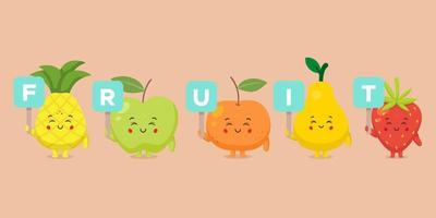 Cute Character Holding Fruit Sign Set vector