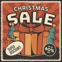 Retro Classic Vintage Christmas Sale Discount Poster vector