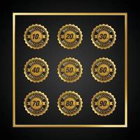 Gold Gradient Sale Discount Badge Vector Set