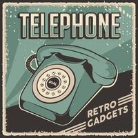 Retro Classic Vintage Gadgets Telephone Signage Poster vector