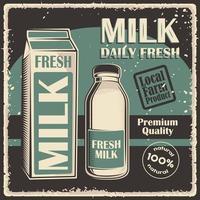 cartel de señalización clásico vintage retro de leche vector