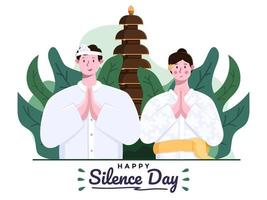 Happy day of silence nyepi and happy saka new years or hindu new year. Bali Couple or people with wear traditional outfit.