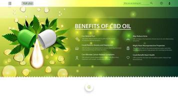 Green an white web banner for website with drop of cbd oil and green leafs of cannabis on background of oil drops. Medical uses for cbd oil, benefits of use CBD oil. vector