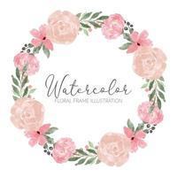 acuarela rosa arreglo floral círculo guirnalda