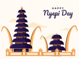 Bali happy day of silence and hindu new year, saka ilustration with Hindu temple building.