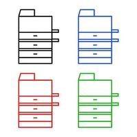 Conjunto de fotocopiadora sobre fondo blanco. vector
