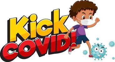 patear la fuente covid con un niño que intenta patear el personaje de dibujos animados de coronavirus vector