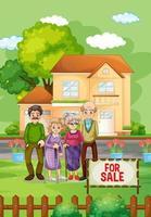 Escena al aire libre con familia de pie frente a una casa en venta. vector