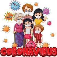 miembros de la familia con máscara con fuente coronavirus vector