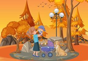 escena del parque al atardecer con madre e hija vector