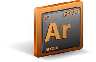 elemento químico argón. símbolo químico con número atómico y masa atómica. vector