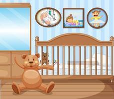 Baby crib bedroom interior vector