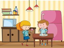 niños pequeños en la escena de la cocina con equipos. vector
