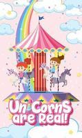 Los unicornios son una fuente real con niños jugando carrusel. vector