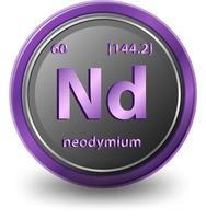 elemento químico de neodimio. símbolo químico con número atómico y masa atómica. vector