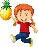 Happy girl cartoon character holding a pineapple vector