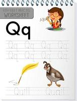 Alphabet tracing worksheet with letter Q and q vector